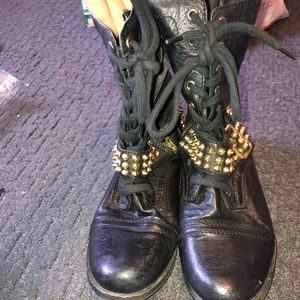 Steve Madden gold spiked combat boots